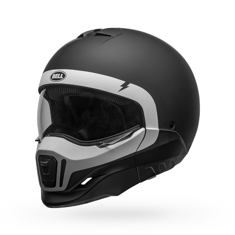 bell broozer modular street motorcycle helmet cranium matte black white front left