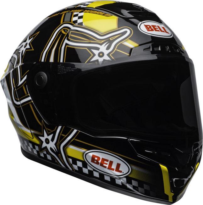 bell star mips street helmet isle of man gloss black yellow front right