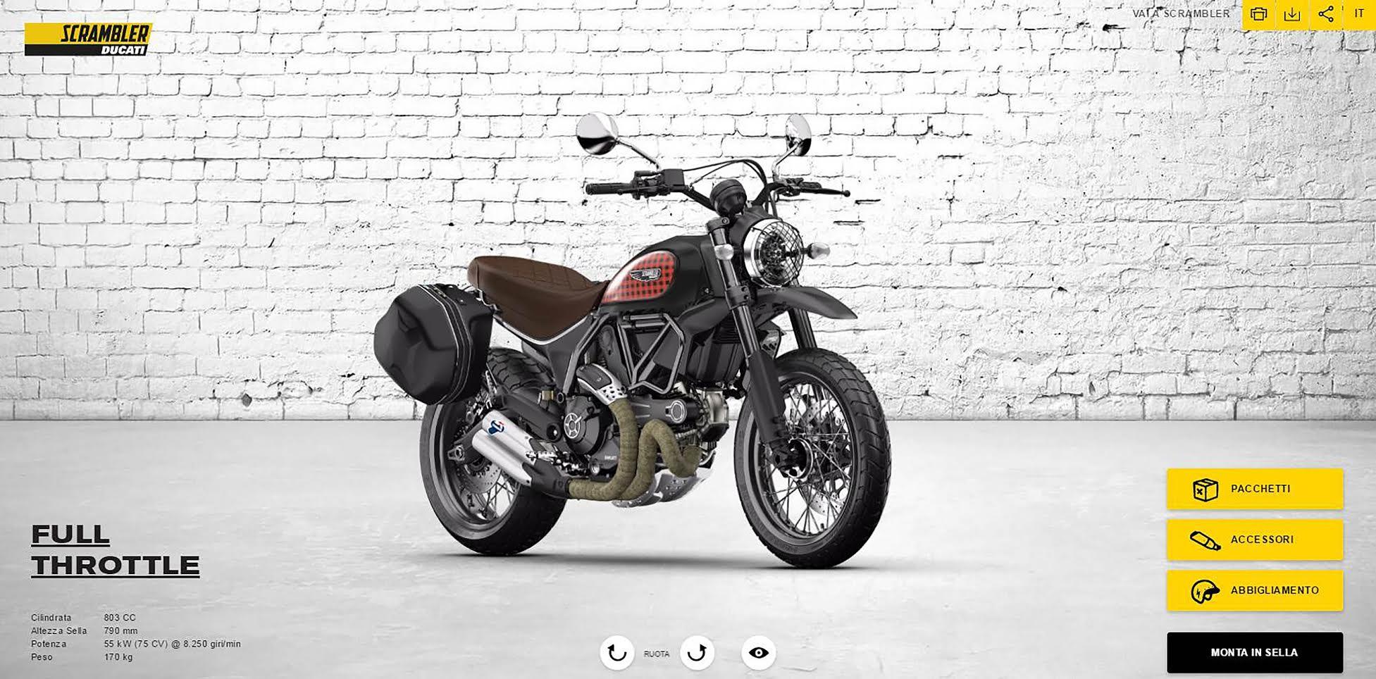Ducati presenta su nuevo configurador para la Scrambler