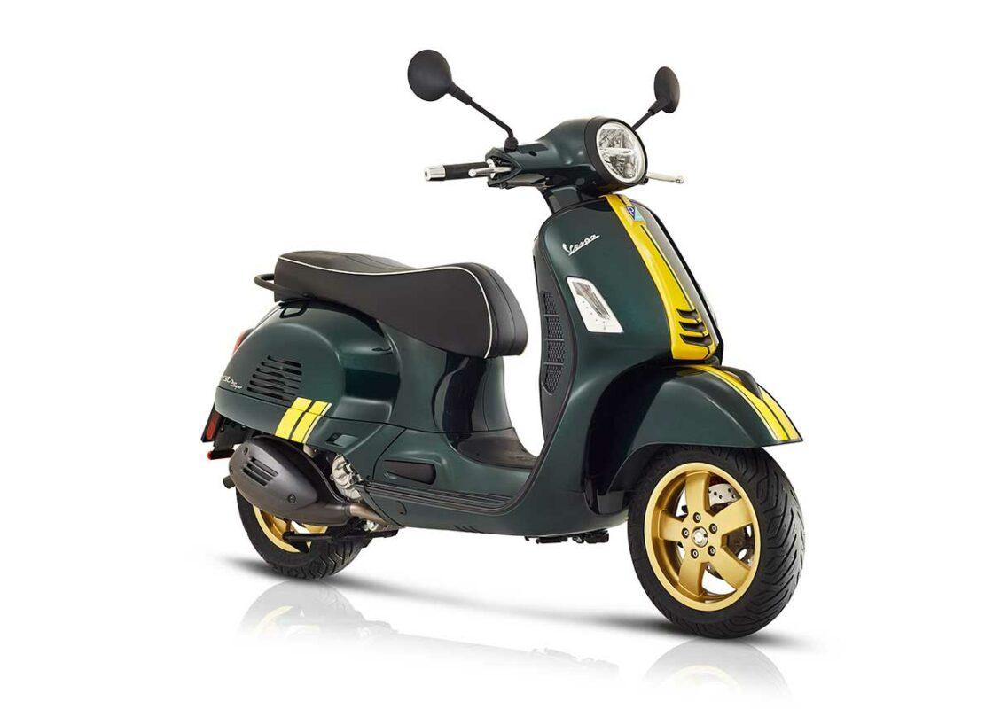 vespa gts super racing sixties verde y amarilla