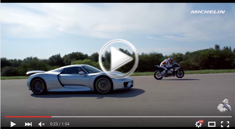 VÍDEO: Michelin enfrenta a la Yamaha R1 con un Porsche 918 Spyder